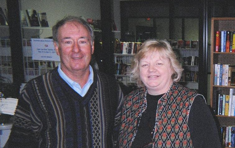 Dirk with Debbie Beamer at her Mechanicsburg Mystery Book Store