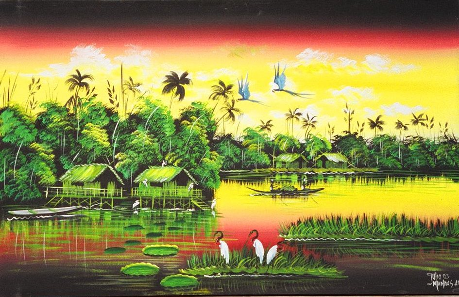 Painting depicting caboclo life on Amazon from Dirk Wyle collection