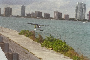Amphibious ultralight airplane on Biscayne Bay